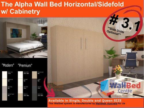 2 Alpha Flat Pack Horizontal or SideFold with cabinetry Wall Bed Products Picture