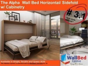 The Alpha Wall Bed (Horizontal/Sidefold) – Flat Pack with cabinetry Single